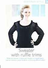 "LADIES~SWEATER~RUFFLE TRIMS~SLIGHTLY GOTHIC  CROCHET PATTERN~SIZE 32-38""  (DS33)"