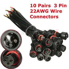 10 Pairs 3Pin IP65 22AWG Waterproof LED Cable Strips Wire Connectors Male/Female