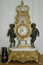 19TH STYLE CENTURY ITALIAN BREVETTATO EMPIRE MARBLE BRONZE MANTLE IMPERIAL CLOCK