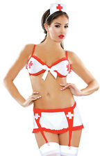 Sexy Women's White and Red Nurse Costume. Fantasy Bedroom Lingerie. One Size