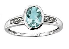 Elements Or blanc 9ct diamants et aigue-marine bague, taille O1/2