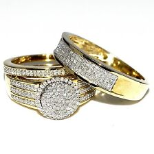 His and Her Bridal Rings Set Trio 0.73ct 10K Yellow Gold Halo Style Wedding Ring