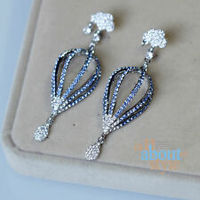 Earring Stud Silver Blue Balloon Cloud Drop Crystal Pendant Vintage Original X14