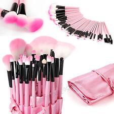 Professional 32 Piece Kabuki Make Up Brush Set and Cosmetic Brushes Case Pink
