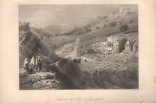 1845 Ca ANTIQUE PRINT-BARTLETT-JERUSALEM-TOMBS IN THE VALLEY OF JEHOSHAPHAT