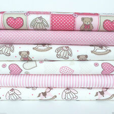Baby pink & beige 6 piece fat quarter bundle 100% cotton fabric for sewing/craft