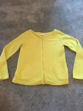 Promod Neon Yellow Lime Green Cashmere Wool Blend Zip Cardigan Size S 8 10 Vgc