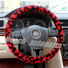 New Flocking Leopard Print Car Steering Wheel Cover/14.96 Inch (Diameter) Red
