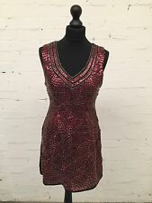 Maya Deluxe Red Sleeveless Embellished Dress Size 10