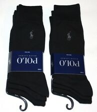 POLO RALPH LAUREN mens dress socks 6 pairs SOLID BLACK - SALE -