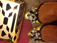 ZARA Leather Gold Flat Studded Jewelled Ballerina Sandals Shoes UK 5 Euro 38