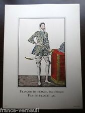 Lithographie French Lithography Fashion mode François de France 16th century