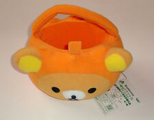 HALLOWEEN RILAKKUMA PUMPKIN HEAD PLUSH BUCKET CANDY HOLDER TREAT BAG SANRIO NEW