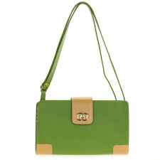 Giordano Italian Made Green & Beige Genuine Leather Shoulder Bag Clutch Purse