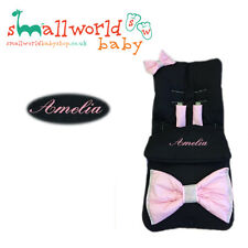 Personalised Black with Pink Bling X Large Bow Footmuff (NEXT DAY DISPATCH)