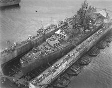 WWII B&W Photo US Navy Battleship South Dakota in Drydock Guam 1945  WW2 / 7002