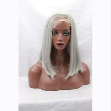 """14"""" Short Straight White Grey Color Lace Front Wig Heat Resistant"""