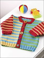 """Baby Childrens Little Button Up Stripe Cardigan 24"""" - 30"""" Easy Knitting Pattern"""