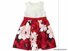 Gymboree NWT  Royal RED Floral Flower Duppioni Dress Toddler Dressy 18-24 mths