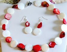 """ALL HANDMADE RED/WHITE 20mm FLAT ROUND SHELL,NUGGET NECKLACE  EARRING SET 19"""""""