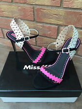 "MISS KG BLACK/PINK/WHITE HEELED ""POSEY"" SANDALS/SHOES BNIB"