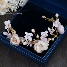 Vintage Flowers Style Pearls Bridal Crown Tiara Wedding Bride Hair Accessories