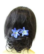 2 x Blue Cattleya Orchid Flower Hair Pins Vintage Rockabilly Clip Bridal 1448