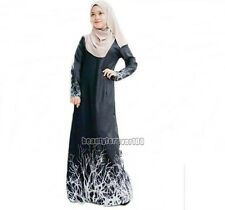 New Women Printing Kaftan Abaya Jilbab Islamic Muslim Long Sleeve Maxi Dress