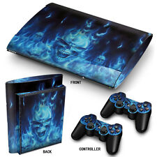 PS3 SuperSlim PlayStation 3 Skin Stickers PVC for Console & 2 Pads blue fire