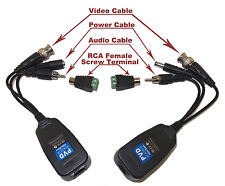 CCTV Camera Passive Power Video Audio Balun or PTZ Data via UTP RJ45 Cat5 Cable