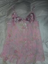 Victoria's Secret Pink Floral Nighty Babydoll Lingerie Gown Size Medium