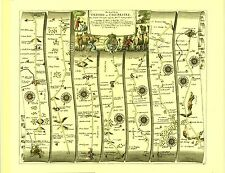 Oxford to Chichester inc.Basingstoke, Harwell Replica 17c OGILBY Old Road Map
