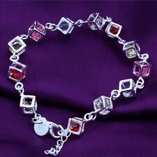 1Pc Elegant Silver Plated Chain Bracelet Square Shape Colorful Rhinestone Bangle