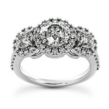 3 CT D/SI ROUND CUT ENHANCED DIAMOND ENGAGEMENT RING 14K WHITE GOLD