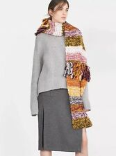Zara Chunky Multicoloured Hand Made Long Fringed Scarf BNWT