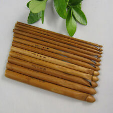 "Hot 12 Sizes Bamboo Handle Crochet Hook Weave Yarn Craft Knitting Needle 6"" BS-A"