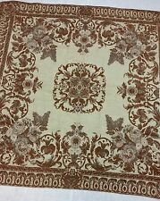 Rust Rose Medallion Chenille Tapestry Throw and Handmade Set of Pillows