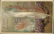 Bird Feather & Flowers Gilt Gel Finish c1910 Birthday Postcard #1