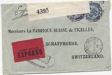 * 1918 FENCHURCH ST LONDON  SWITZERLAND PERFIN 5½d EXPRESS COVER W F MALCOLM WW1
