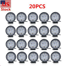 20PCS 27W Flood Beam LED Work Light Bar Lamp Round Boat 4WD SUV Truck Tractor