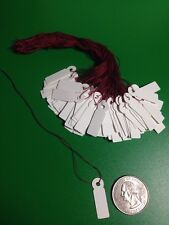 "100 Small White Jewelry Price Label Tags Strung with Burgundy Strings 1"" Sales"