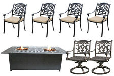 Outdoor Patio Furniture Set 7 Piece Propane Fire Pit Table Firepit Cast Aluminum