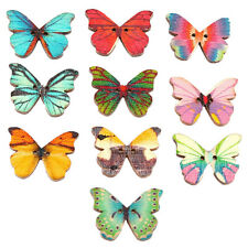 100Pc Wooden Buttons Butterfly Shape Mixed Color 2-Hole Sewing Button Scrapbook