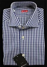 "Kiton NWT ""Cipa 1960"" Dress Shirt Navy Blue White Slim Fit Small Plaid 15 3/4 40"