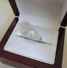 Art Deco Style 18ct Gold Aquamarine and Diamond Ring
