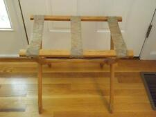 Vintage Scheibe Turned Wood Folding Luggage Stand Rack 3 Fabric Straps