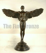 """SIGNED A.A.Weinman, bronze Sculpture winged man nude Icarus """"Rising Sun"""""""