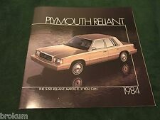"MINT 1984 PLYMOUTH RELIANT ORIGINAL DEALER SALES BROCHURE 11"" X 11"" (BOX 658)"