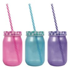 400 ML Colored  Drinking jar Cocktail Glass with straw lid Novelty Party Gift