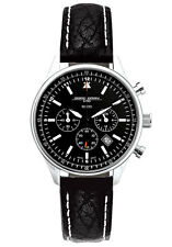 Jorg Gray JG6500-21 Black Dial Chronograph Black Leather Band Silver SS Watch